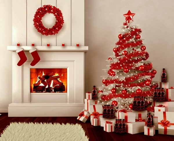 Red-Christmas-tree-decorations-christmas-ornaments-ideas-wreath-socks-red-white-home-decor